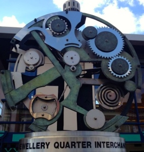 Sculpture of clock workings at Birmingham Jewellery Quarter Train Station
