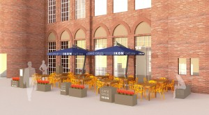 Cafe Opus at Ikon exterior render by  Suzanne Barnes Design Partnership