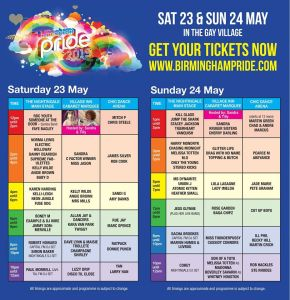 Birmingham Pride 2015 Entertainment Planner