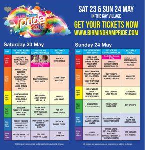 Birmingham Pride 2015 Entertainment Planner