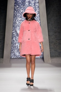 Selfridges Live Loud 2015 Ashley Williams Fluffy Pink Coat on Catwalk