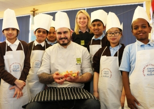 OPUS at St Clare's Primary School with Executive Chef Ben Ternent and Sustainability Champion Sarah Hepburn (1)