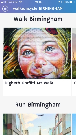 Screenshot from Walk Run Cycle Birmingham showing graffiti