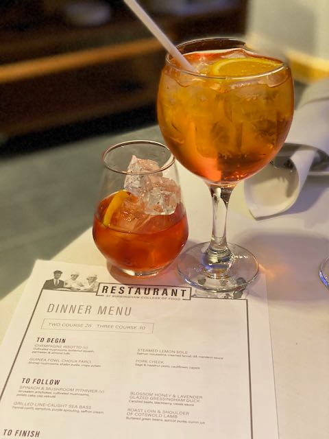 Aperol spritz and negroni cocktails