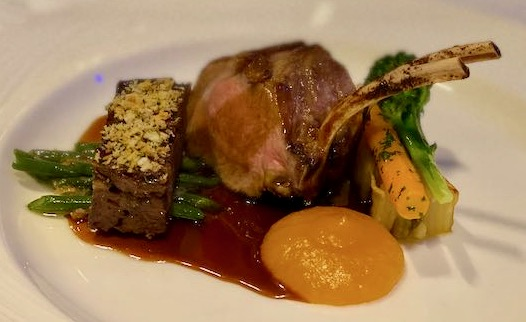 French trimmed lamb with pressed slow cooked shoulder of lamb with an apricot puree and gravy plus veg