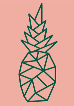 The Pineapple Club Logo, a stylised pineapple in green angular lines on a lush pink background
